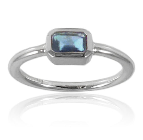 Iceland Rectangle Stacking Ring Blue Topaz