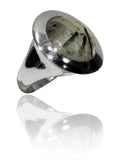 Small Italian Full Faceted Circle Ring with Simple Band Black Rutile Quartz