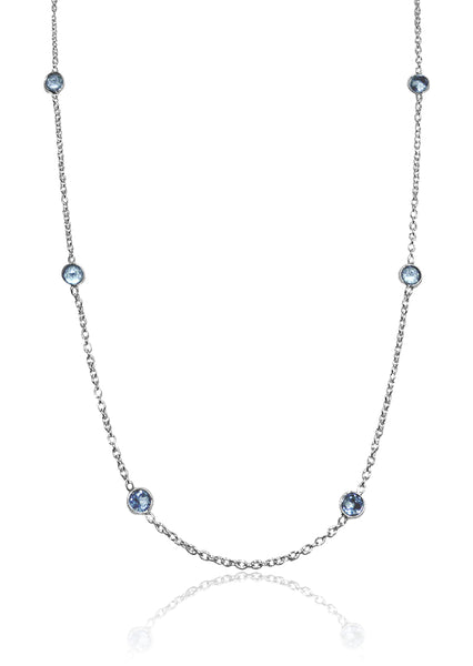 Tiny Kathak 8 Stone Necklace Blue Topaz