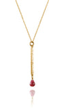 Gold Plated Berlin Wall Necklace Rough Cut Ruby
