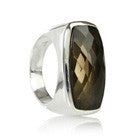 Rectangular Faceted Cut Stone Ring (Smokey Quartz)