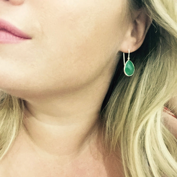 Slim Peacock Earrings -  Green Chalcedony