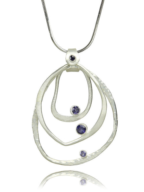 Amazon Concentric Circle Stone Pendant Iolite
