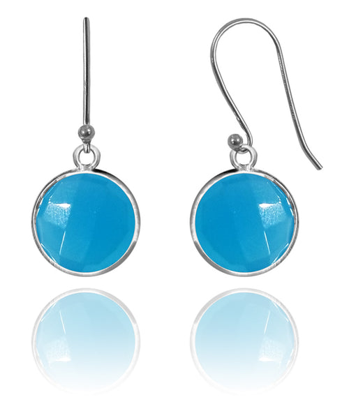 Medium Hanging Puntino Earrings Blue Chalcedony