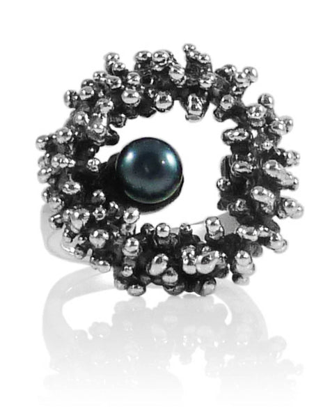 Under the Sea Pearl Ring Grey Pearl Size 8.5