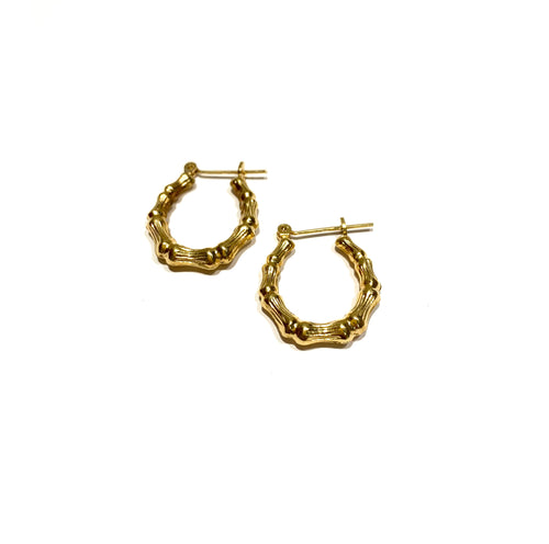 10k Gold Bamboo Hoops