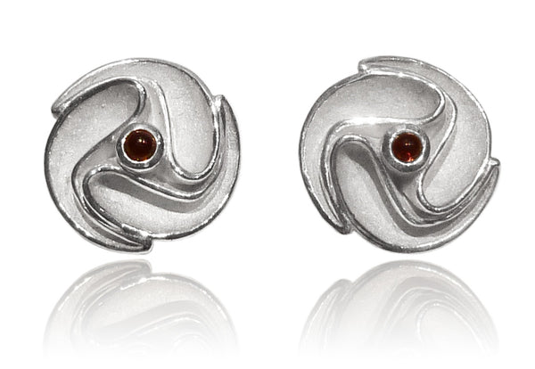 Flowered Sculptured Earring Drops Garnet
