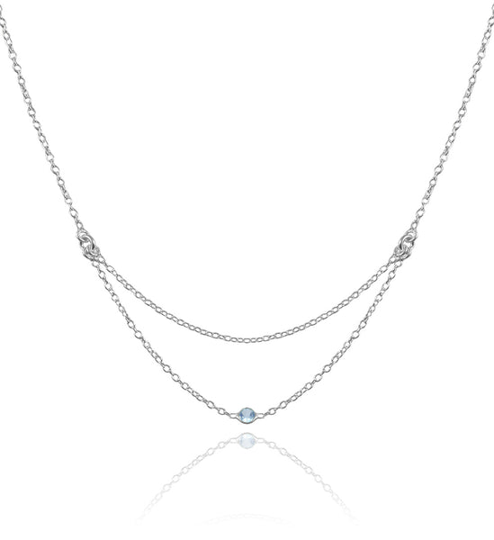 Single Stone Layered Kathak Necklace Blue Topaz