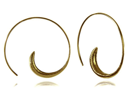 18k Gold Plated Brushed Mini Swirly with Silver Ball Earrings