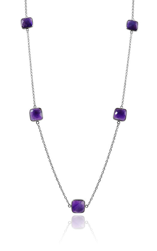 7 Square Stone Necklace Amethyst