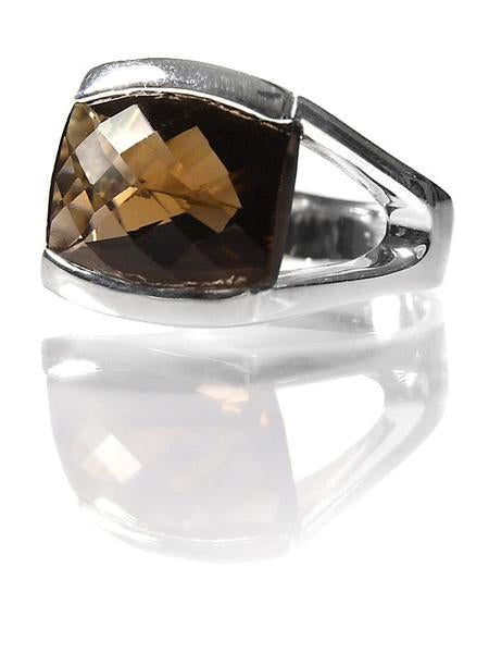 Capri Large Stackable Square Ring Black Rutile Quartz