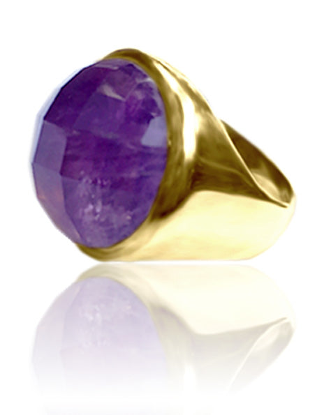 18K Gold Plated Medium Faceted Circle Cocktail Ring Amethyst