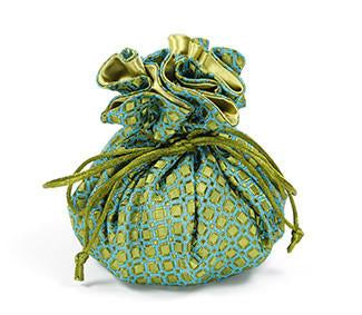 Jewelry Pouch Green and Blue Checkers