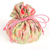 Jewelry Pouch Floral: Light Green and Pink