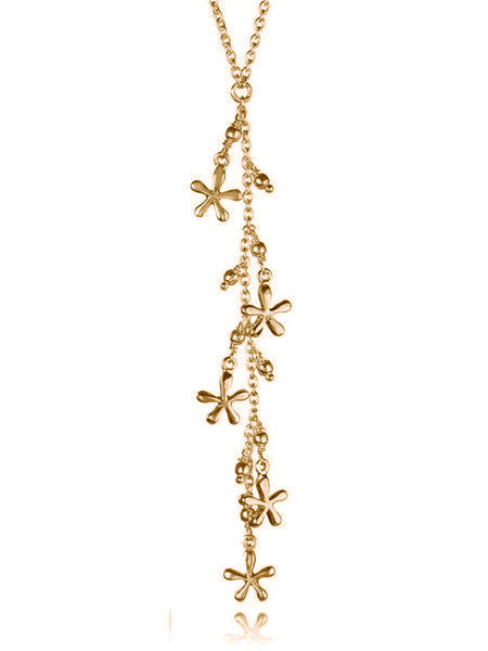18K Gold Plated Bloom Lariat Necklace