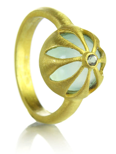 18K Gold Plated Arabesque Flower Cut Out Ring Aqua Chalcedony
