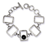 Brushed Open Square with Stone Bracelet Black Onyx