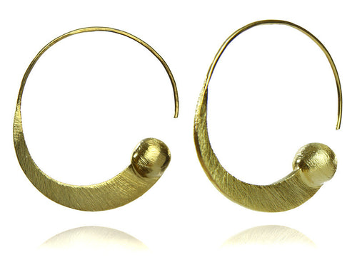 18K Gold Plated Brushed Swirly Earrings with Gold Ball