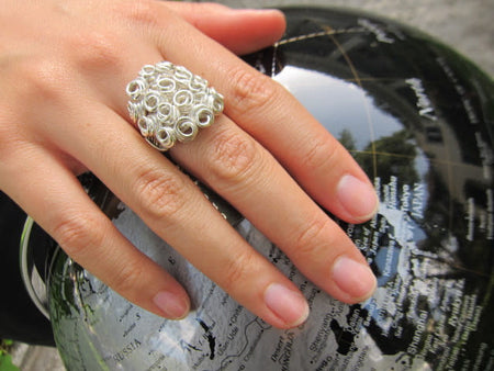 Gaudi Dome Ring with Faceted Stone Black Onyx