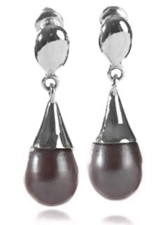 Capri Cone Pearl Earrings Grey Pearl