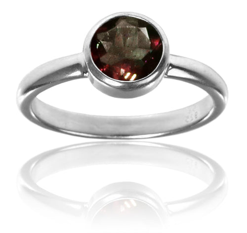 Stackable Jaipuri Circle Ring Garnet