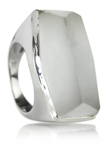 Brazilian Rough Cut Cocktail Ring Clear Quartz