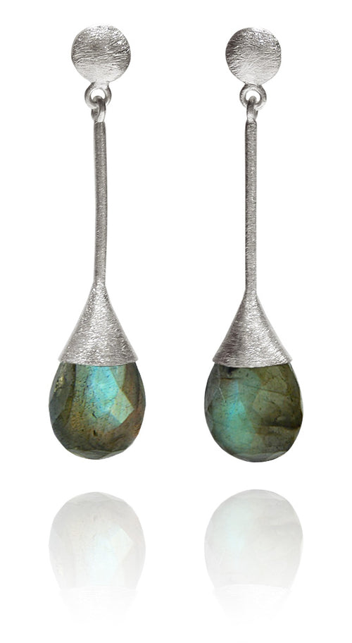Indian Peacock Earrings Labradorite