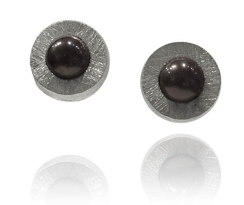 Capri Pearl Encased Framed Earrings Grey Pearl
