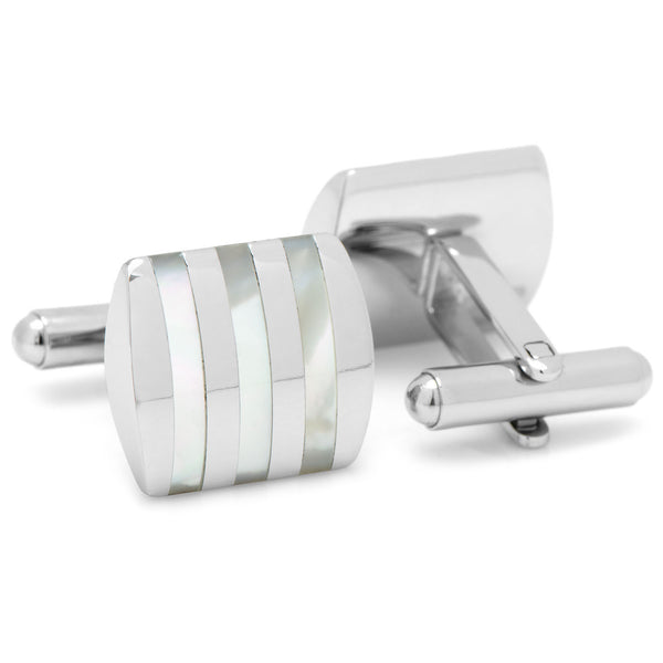Stainless Steel Striped Mother of Pearl Cufflinks