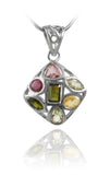 7 Stone Square Pendant Mixed Tourmaline