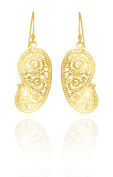 18K Gold Plated Matte Paisley Earrings (Small)