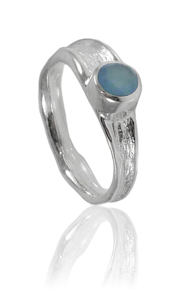 Thin Amazon River Ring with Stone Blue Chalcedony
