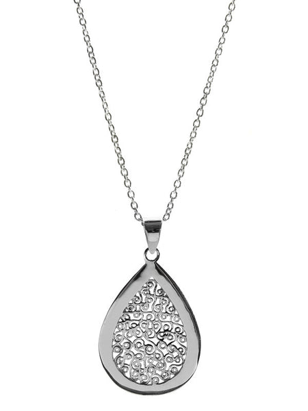 Egyptian Teardrop Filigree Pendant with Linked Chain