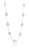 Faceted 17 Stone Capri Long Necklace White Moonstone