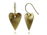 18K Gold Plated Brushed Heart Earrings