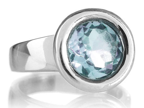 Gaudi Circle Classic Stone Ring Blue Topaz