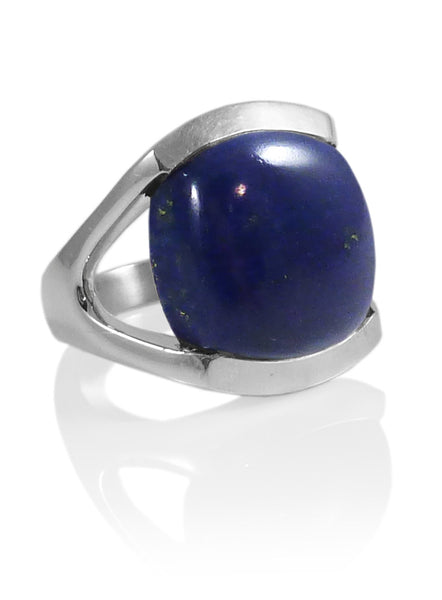 Square Open Sided Cocktail Ring Lapis Lazuli Size 7.5