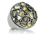 Gaudi Mosaic Cocktail Ring Citrine and Smokey Quartz