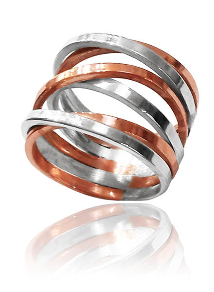 Copper with Silver Accent Twist Band