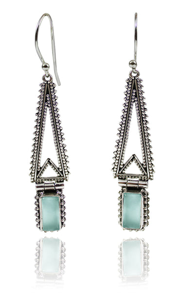 Hinged Temple Drops Aqua Chalcedony