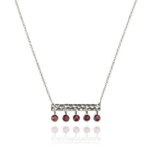 5 Stone Bavaria Bar Necklace Garnet