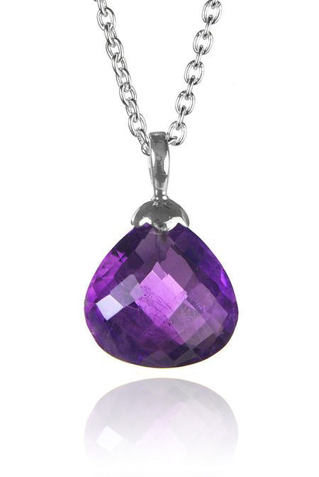 Jaipuri Quartz Drop Pendant with Chain Amethyst