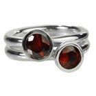 Two Stone Stacked Ring Garnet 7