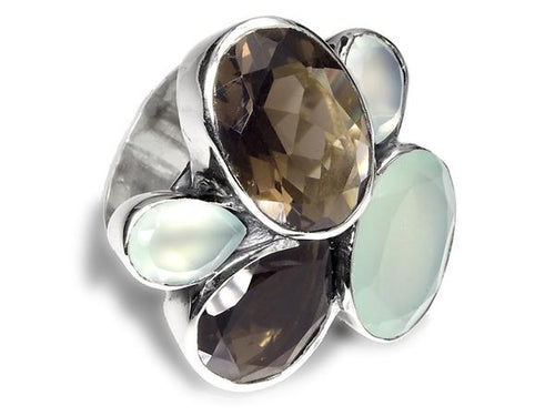 Flower Cocktail Ring Aqua Chalcedony and Smokey Quartz