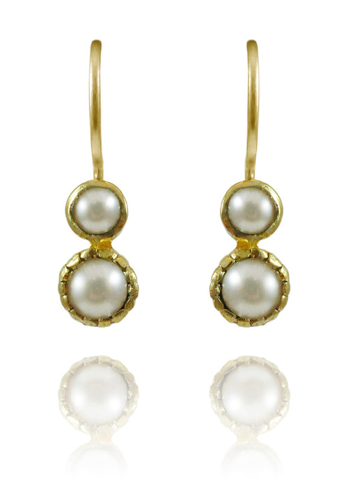 Gold Plated Art Deco Pop Earrings White Pearl