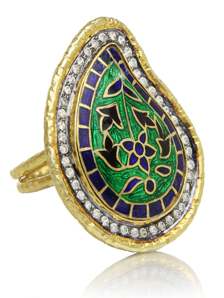 18K Gold Plated/Cloisonne Paisley Ring