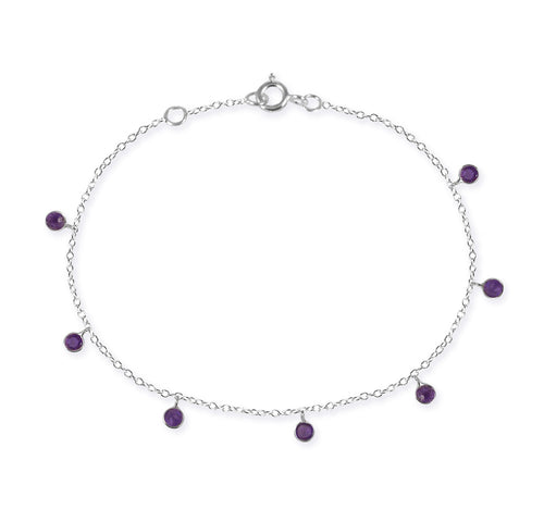 7 Stone Kathak Dangle Bracelet Amethyst