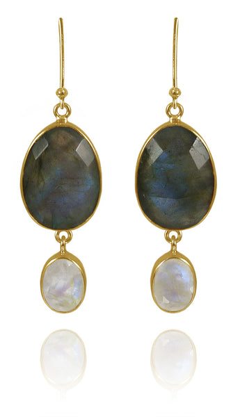 River Rock Stone and Drop Earrings Labradorite and White Moonstone