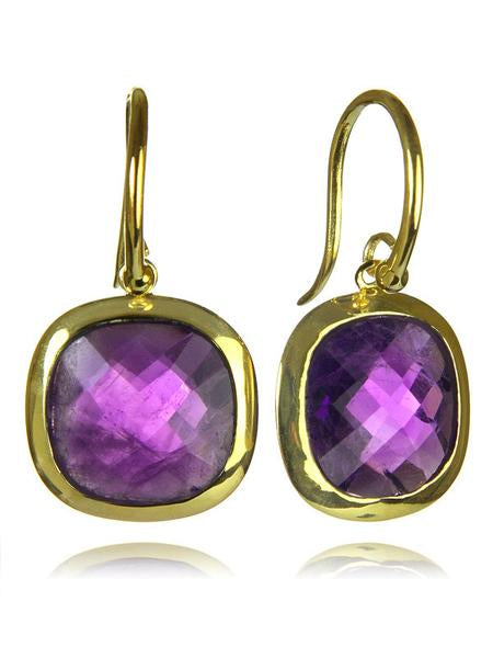 18K Gold Plated Framed Rounded Square Classic Earrings Amethyst