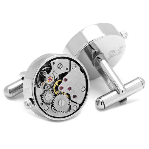 Steampunk Silver Watch Movement Cufflinks